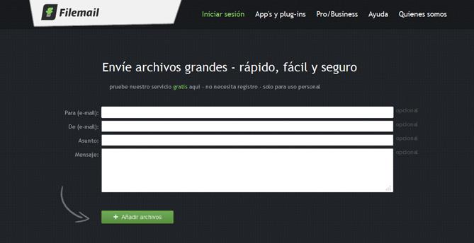 Filemail, herramienta para compartir archivos pesados